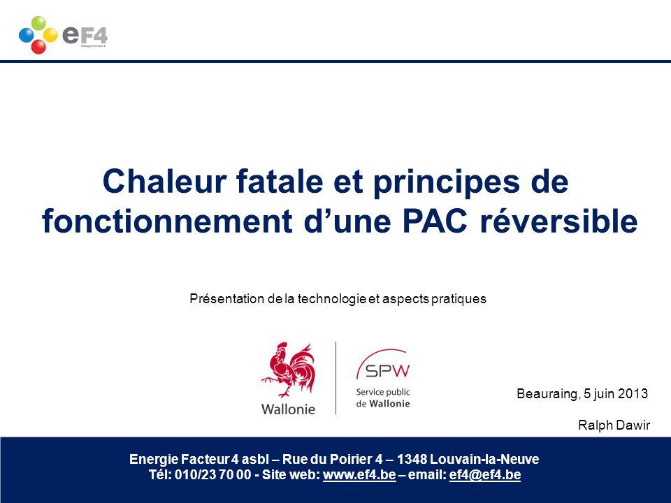 Energie Facteur 4 asbl – Rue du Poirier 4 – 1348 Louvain-la-Neuve Tél: 010/23 70 00 - Site web: www.ef4.be – email: ef4@ef4.be Chaleur fatale et princ