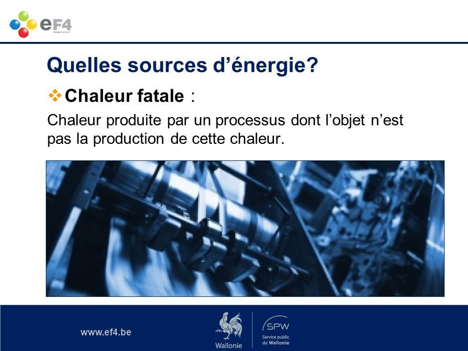 www.ef4.be Chaleur fatale : Chaleur produite par un processus dont lobjet nest pas la production de cette chaleur. Quelles sources dénergie?