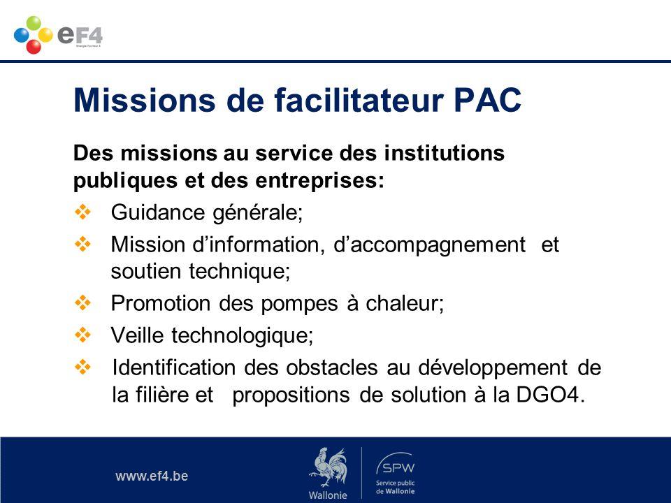 www.ef4.be Missions de facilitateur PAC Des missions au service des institutions publiques et des entreprises: Guidance générale; Mission dinformation