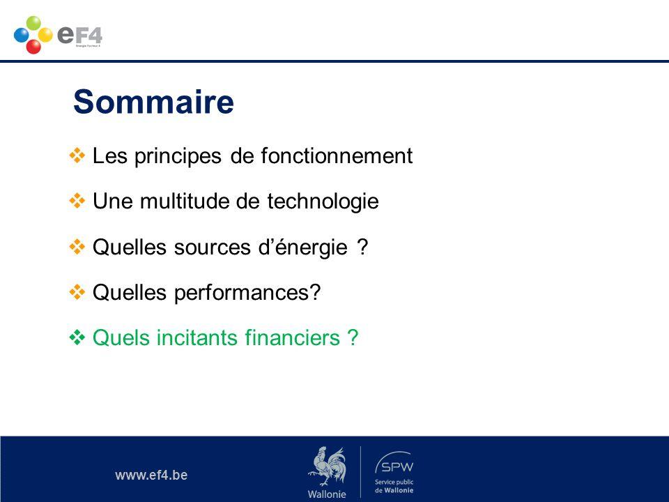 www.ef4.be Sommaire Les principes de fonctionnement Une multitude de technologie Quelles sources dénergie ? Quelles performances? Quels incitants fina