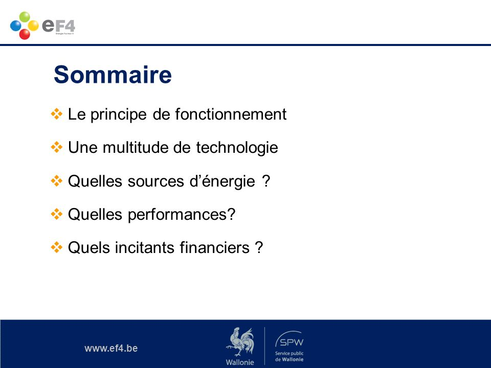 www.ef4.be Sommaire Le principe de fonctionnement Une multitude de technologie Quelles sources dénergie ? Quelles performances? Quels incitants financ