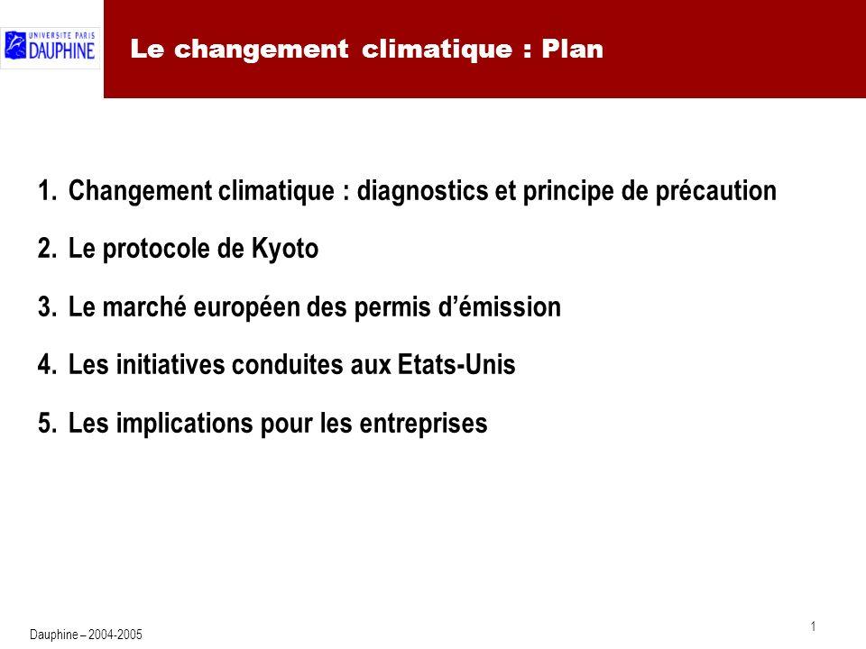 1 Dauphine – 2004-2005 Le changement climatique : Plan 1.Changement climatique : diagnostics et principe de précaution 2.Le protocole de Kyoto 3.Le marché européen des permis démission 4.