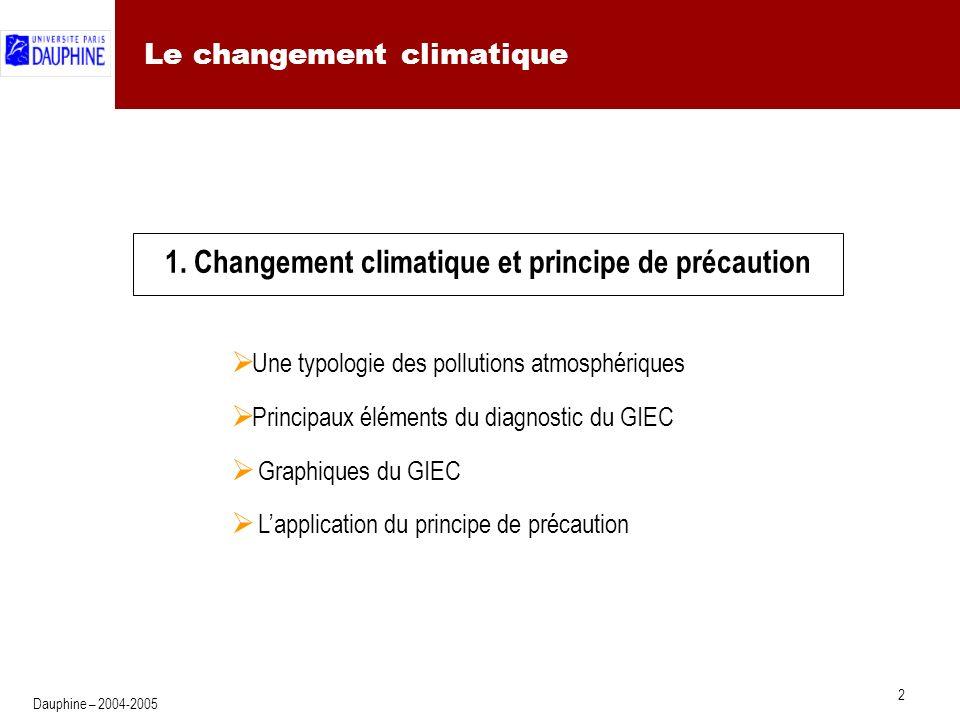 2 Dauphine – 2004-2005 Le changement climatique 1.