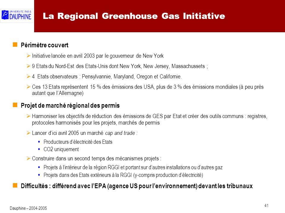41 Dauphine – 2004-2005 La Regional Greenhouse Gas Initiative Périmètre couvert Initiative lancée en avril 2003 par le gouverneur de New York 9 Etats du Nord-Est des Etats-Unis dont New York, New Jersey, Massachussets ; 4 Etats observateurs : Pensylvannie, Maryland, Oregon et Californie.