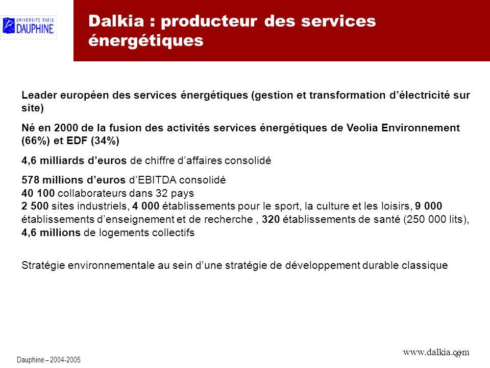 47 Dauphine – 2004-2005 Dalkia : producteur des services énergétiques Leader européen des services énergétiques (gestion et transformation délectricité sur site) Né en 2000 de la fusion des activités services énergétiques de Veolia Environnement (66%) et EDF (34%) 4,6 milliards deuros de chiffre daffaires consolidé 578 millions deuros dEBITDA consolidé 40 100 collaborateurs dans 32 pays 2 500 sites industriels, 4 000 établissements pour le sport, la culture et les loisirs, 9 000 établissements denseignement et de recherche, 320 établissements de santé (250 000 lits), 4,6 millions de logements collectifs Stratégie environnementale au sein dune stratégie de développement durable classique www.dalkia.com