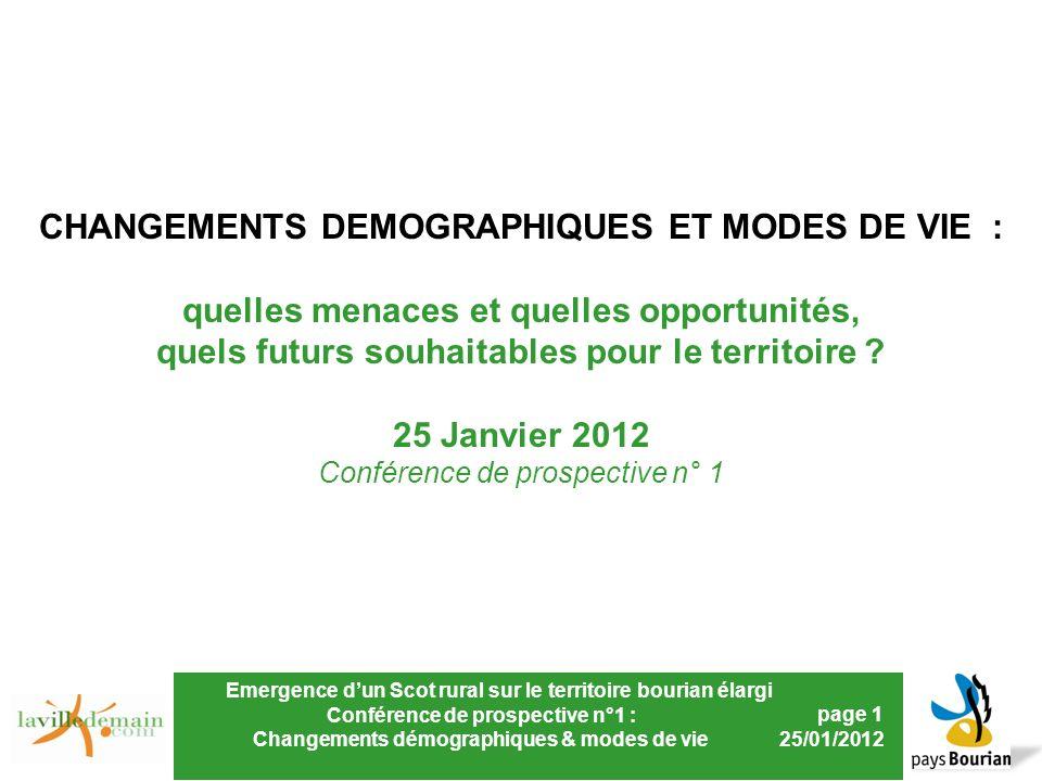 Emergence dun Scot rural sur le territoire bourian élargi Conférence de prospective n°1 : Changements démographiques & modes de vie page 1 25/01/2012