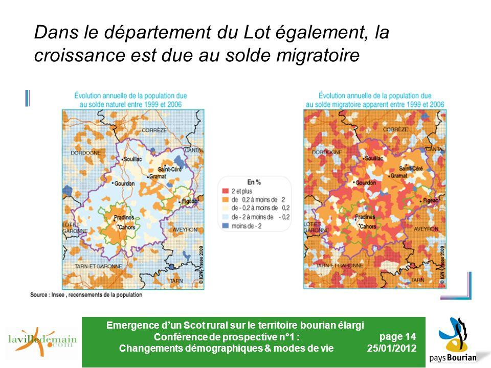 Emergence dun Scot rural sur le territoire bourian élargi Conférence de prospective n°1 : Changements démographiques & modes de vie page 14 25/01/2012