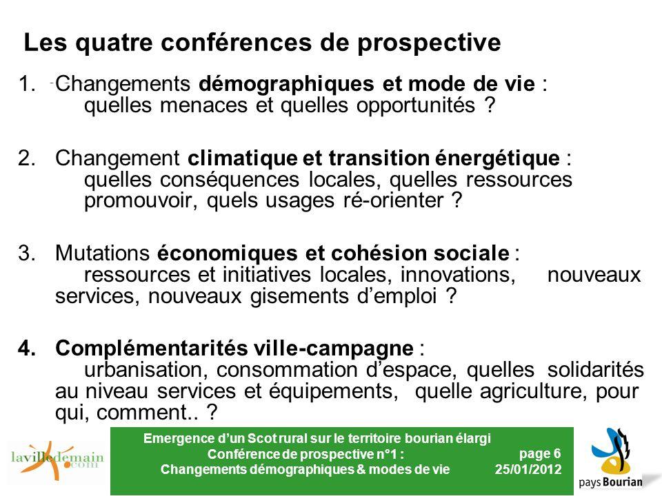 Emergence dun Scot rural sur le territoire bourian élargi Conférence de prospective n°1 : Changements démographiques & modes de vie page 6 25/01/2012