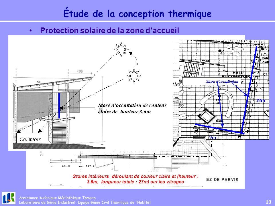Assistance technique Médiathèque Tampon Laboratoire de Génie Industriel, Equipe Génie Civil Thermique de lHabitat 13 Étude de la conception thermique