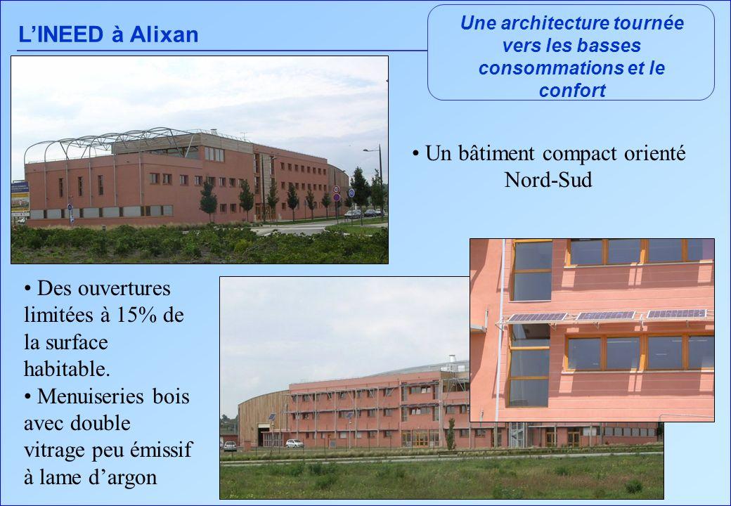 LINEED à Alixan Une architecture tournée vers les basses consommations et le confort Un bâtiment compact orienté Nord-Sud Des ouvertures limitées à 15% de la surface habitable.