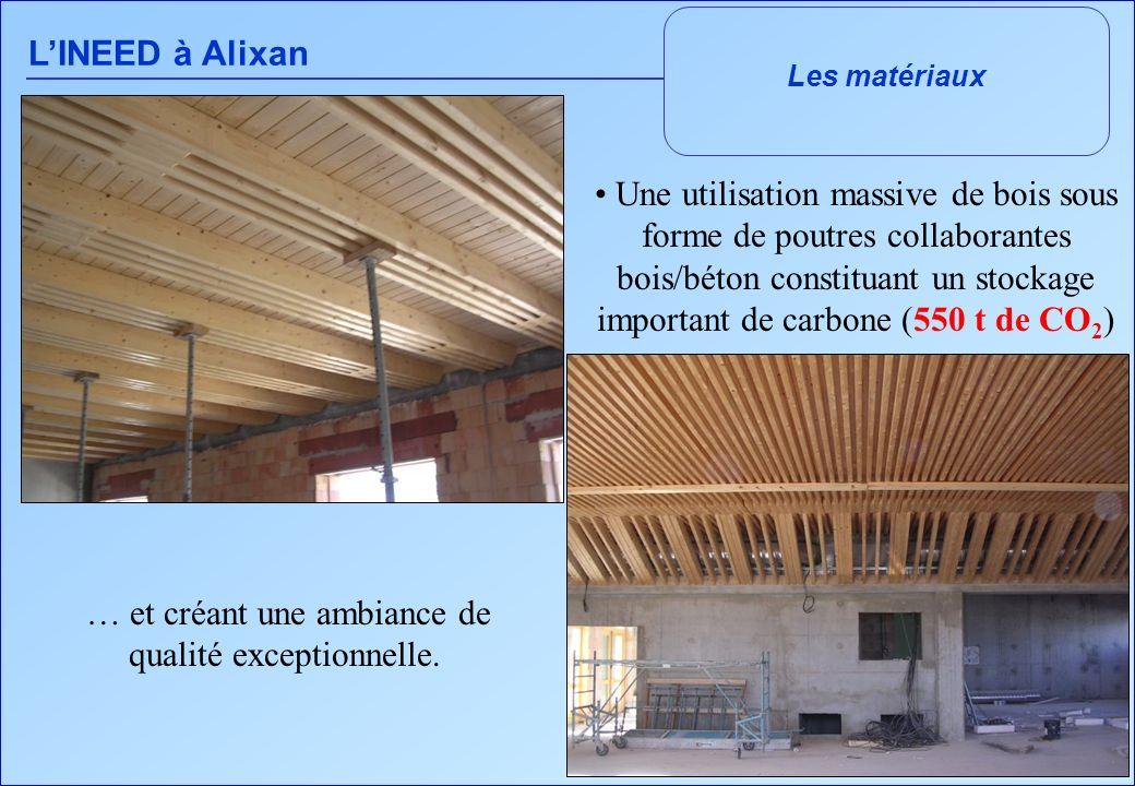 LINEED à Alixan Les matériaux Une utilisation massive de bois sous forme de poutres collaborantes bois/béton constituant un stockage important de carb