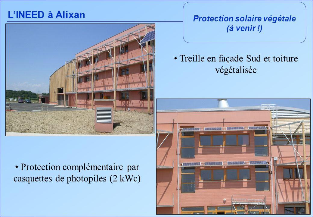 LINEED à Alixan Protection solaire végétale (à venir !) Treille en façade Sud et toiture végétalisée Protection complémentaire par casquettes de photo