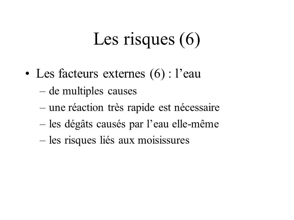 Les risques (6) Les facteurs externes (6) : leau –de multiples causes –une réaction très rapide est nécessaire –les dégâts causés par leau elle-même –