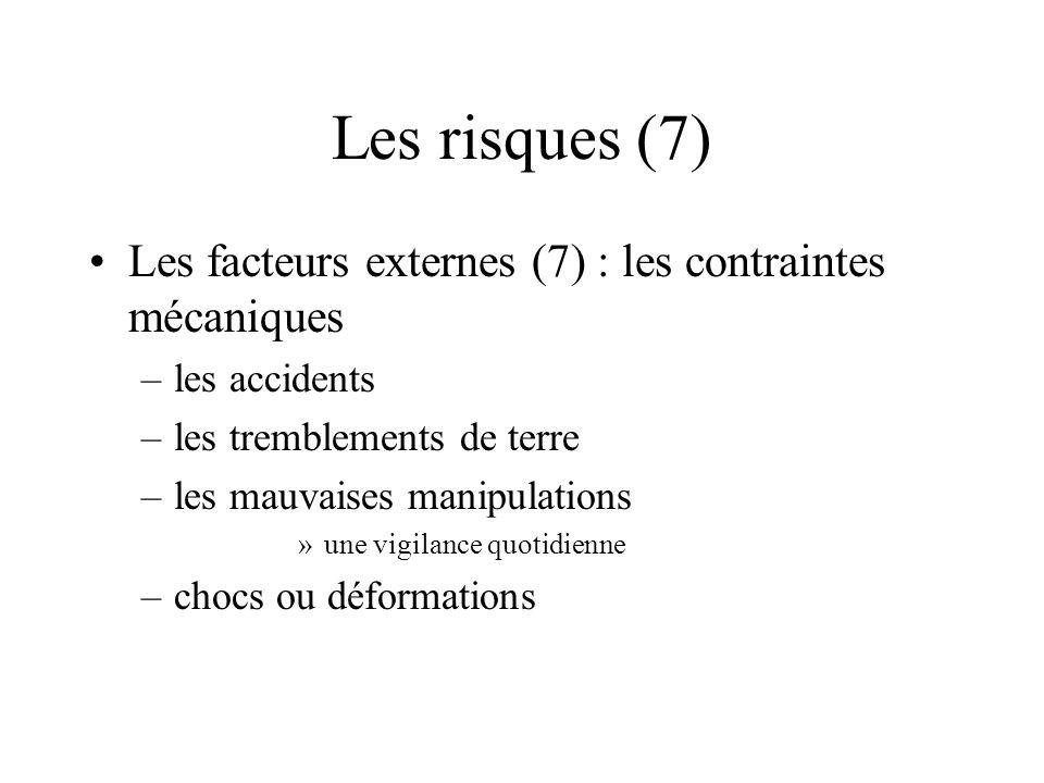 Les risques (7) Les facteurs externes (7) : les contraintes mécaniques –les accidents –les tremblements de terre –les mauvaises manipulations »une vig