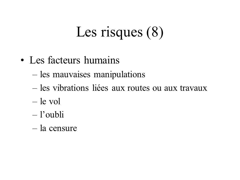 Les risques (8) Les facteurs humains –les mauvaises manipulations –les vibrations liées aux routes ou aux travaux –le vol –loubli –la censure
