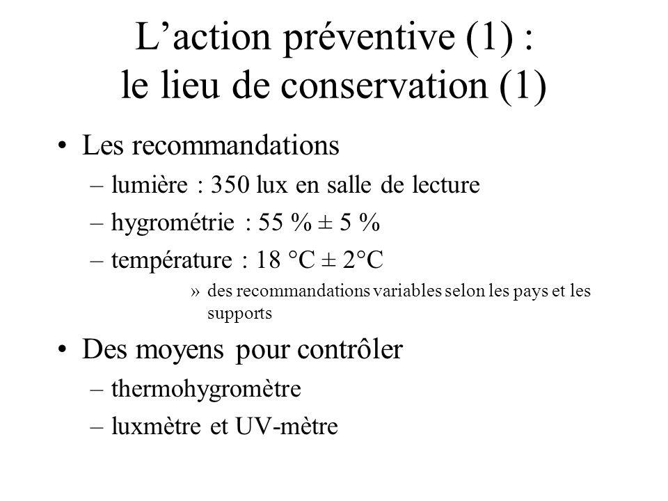 Laction préventive (1) : le lieu de conservation (1) Les recommandations –lumière : 350 lux en salle de lecture –hygrométrie : 55 % ± 5 % –température