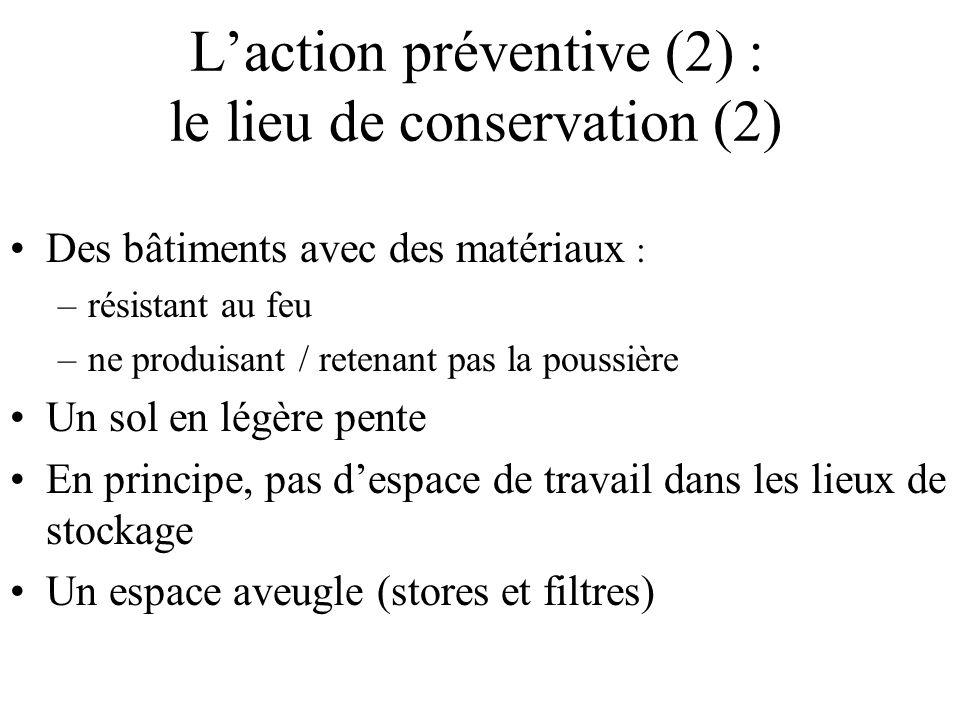 Laction préventive (2) : le lieu de conservation (2) Des bâtiments avec des matériaux : –résistant au feu –ne produisant / retenant pas la poussière U