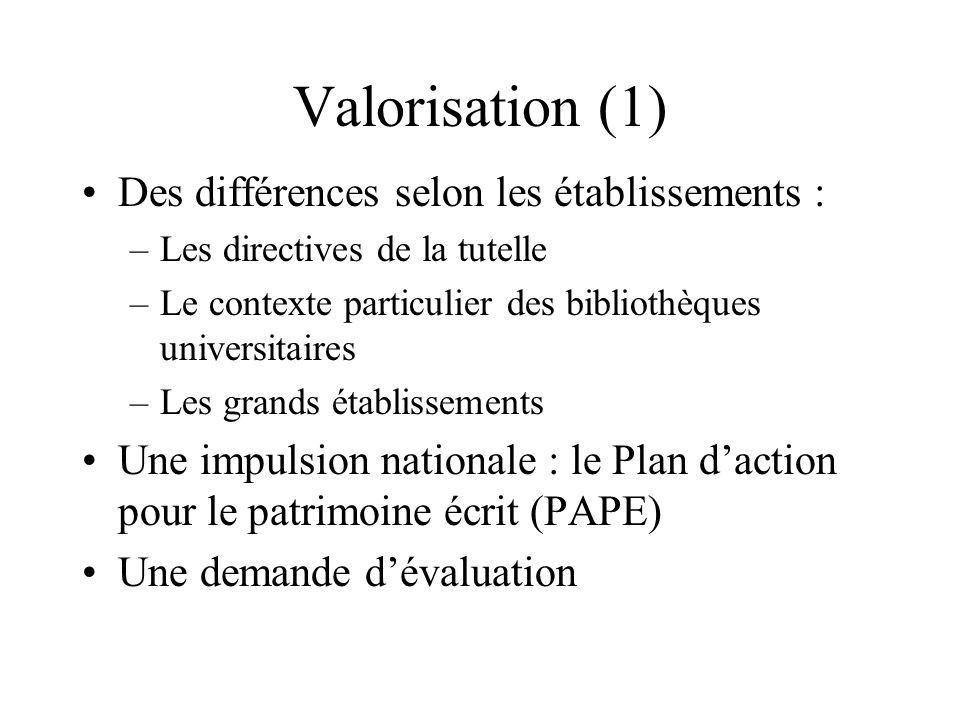 Valorisation (1) Des différences selon les établissements : –Les directives de la tutelle –Le contexte particulier des bibliothèques universitaires –L