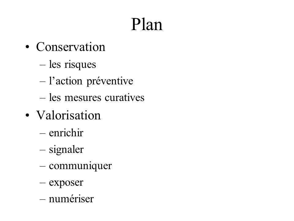 Plan Conservation –les risques –laction préventive –les mesures curatives Valorisation –enrichir –signaler –communiquer –exposer –numériser