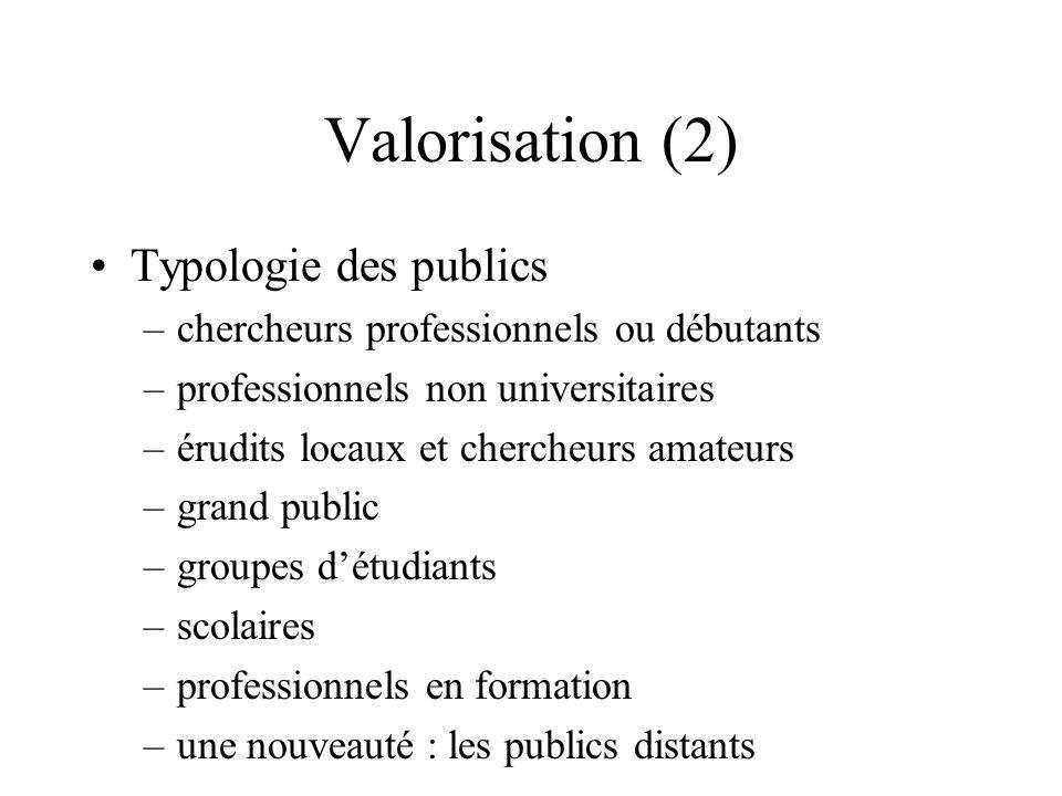 Valorisation (2) Typologie des publics –chercheurs professionnels ou débutants –professionnels non universitaires –érudits locaux et chercheurs amateu
