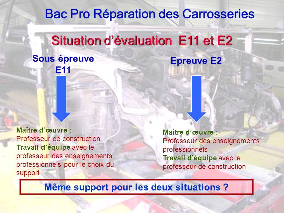 Situation dévaluation E11 et E2 Sous épreuve E11 Maître dœuvre : Professeur de construction Travail déquipe avec le professeur des enseignements profe