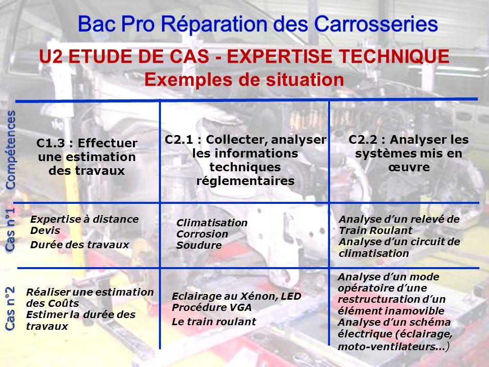C1.3 : Effectuer une estimation des travaux C2.1 : Collecter, analyser les informations techniques réglementaires C2.2 : Analyser les systèmes mis en