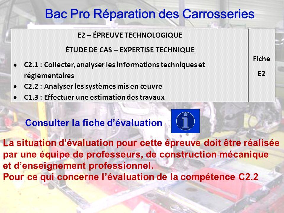 E2 – ÉPREUVE TECHNOLOGIQUE ÉTUDE DE CAS – EXPERTISE TECHNIQUE C2.1 : Collecter, analyser les informations techniques et réglementaires C2.2 : Analyser