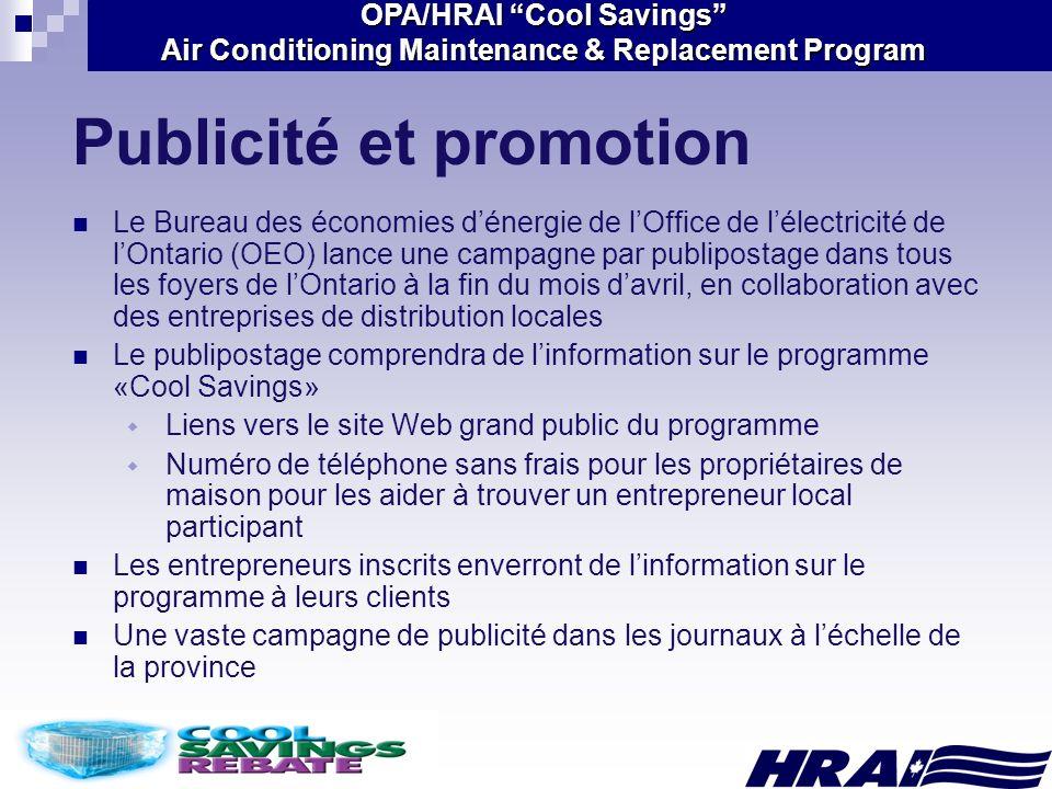 OPA/HRAI Cool Savings Air Conditioning Maintenance & Replacement Program Publicité et promotion Le Bureau des économies dénergie de lOffice de lélectr