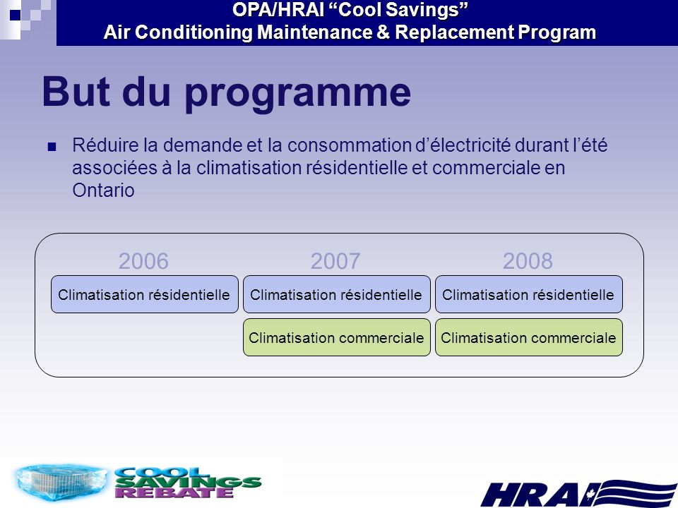 OPA/HRAI Cool Savings Air Conditioning Maintenance & Replacement Program But du programme Réduire la demande et la consommation délectricité durant lé