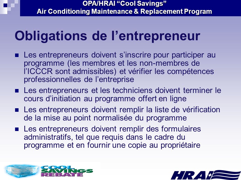 OPA/HRAI Cool Savings Air Conditioning Maintenance & Replacement Program