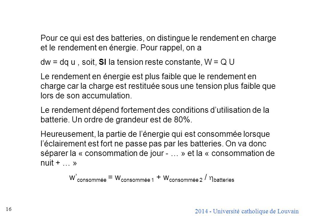2014 - Université catholique de Louvain 16 Pour ce qui est des batteries, on distingue le rendement en charge et le rendement en énergie.