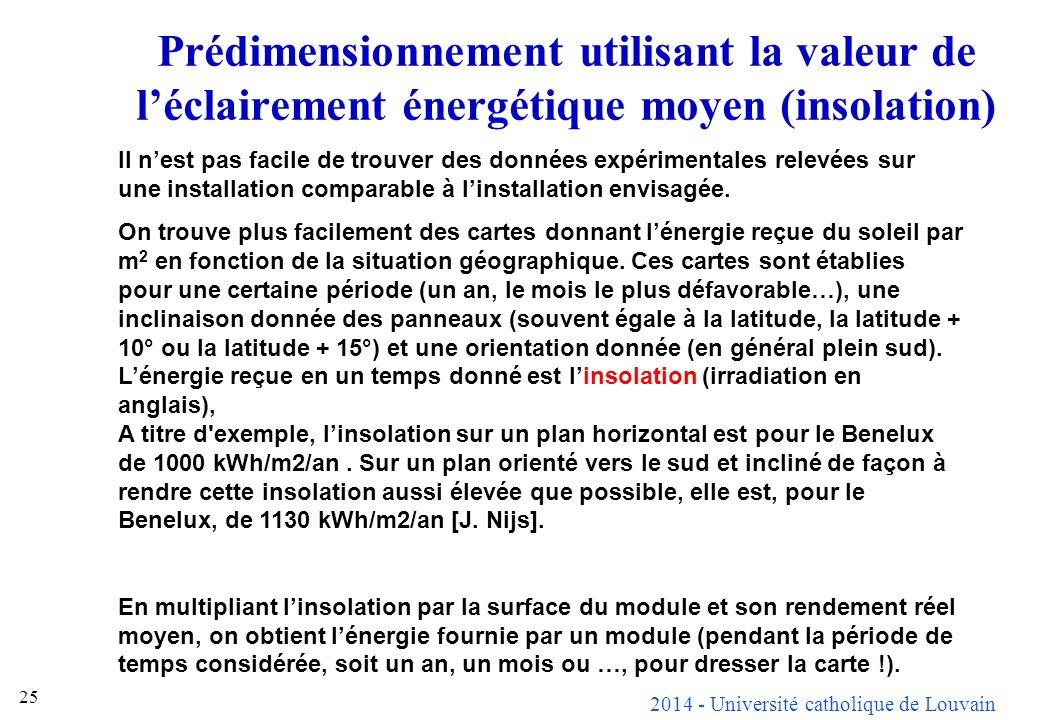 2014 - Université catholique de Louvain 25 Prédimensionnement utilisant la valeur de léclairement énergétique moyen (insolation) Il nest pas facile de trouver des données expérimentales relevées sur une installation comparable à linstallation envisagée.