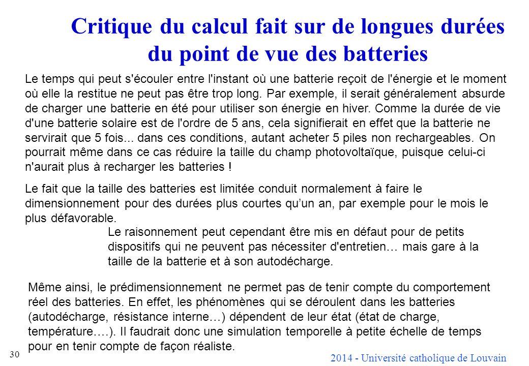 2014 - Université catholique de Louvain 30 Critique du calcul fait sur de longues durées du point de vue des batteries Le temps qui peut s écouler entre l instant où une batterie reçoit de l énergie et le moment où elle la restitue ne peut pas être trop long.