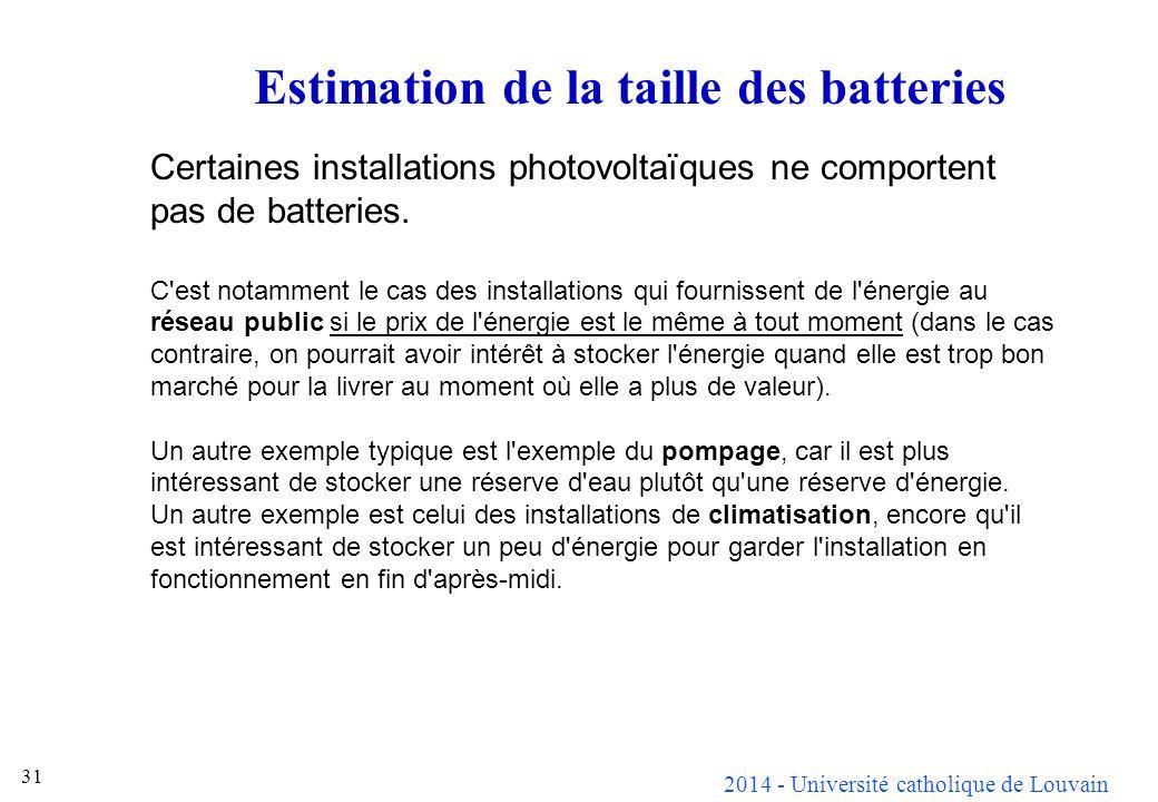 2014 - Université catholique de Louvain 31 Estimation de la taille des batteries Certaines installations photovoltaïques ne comportent pas de batteries.