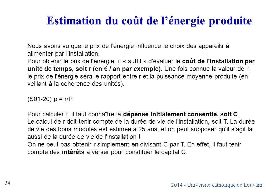 2014 - Université catholique de Louvain 34 Estimation du coût de lénergie produite Nous avons vu que le prix de lénergie influence le choix des appareils à alimenter par linstallation.
