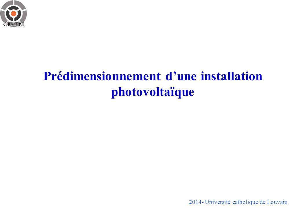 Prédimensionnement dune installation photovoltaïque