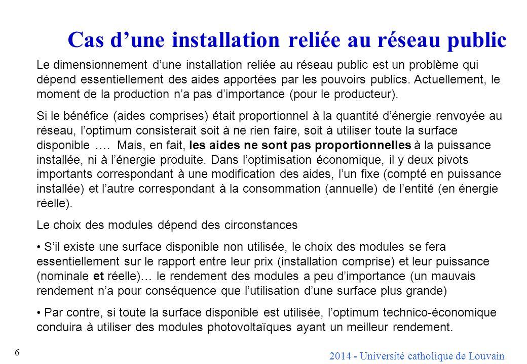 2014 - Université catholique de Louvain 6 Cas dune installation reliée au réseau public Le dimensionnement dune installation reliée au réseau public est un problème qui dépend essentiellement des aides apportées par les pouvoirs publics.