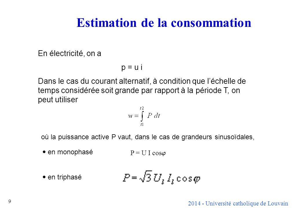 2014 - Université catholique de Louvain 9 En électricité, on a p = u i Dans le cas du courant alternatif, à condition que léchelle de temps considérée soit grande par rapport à la période T, on peut utiliser P = U I cos Estimation de la consommation où la puissance active P vaut, dans le cas de grandeurs sinusoïdales, en monophasé en triphasé