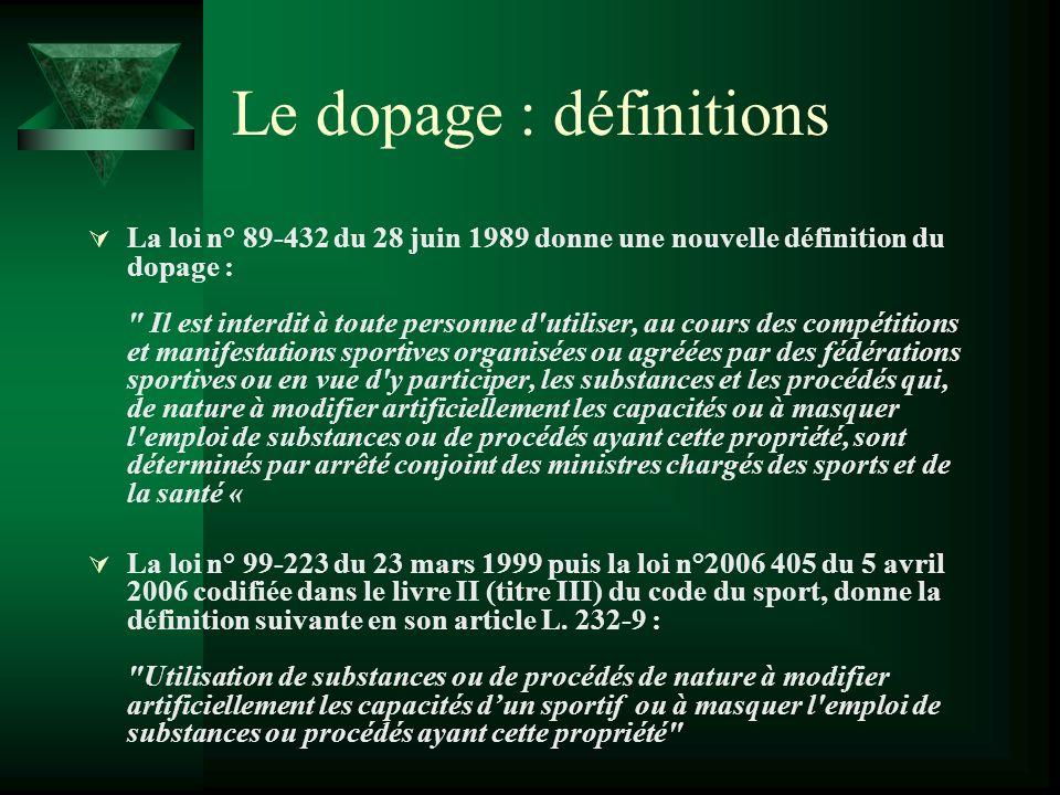 Le dopage : définitions La loi n° 89-432 du 28 juin 1989 donne une nouvelle définition du dopage :