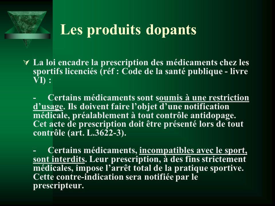 Les produits dopants La loi encadre la prescription des médicaments chez les sportifs licenciés (réf : Code de la santé publique - livre VI) : - Certa