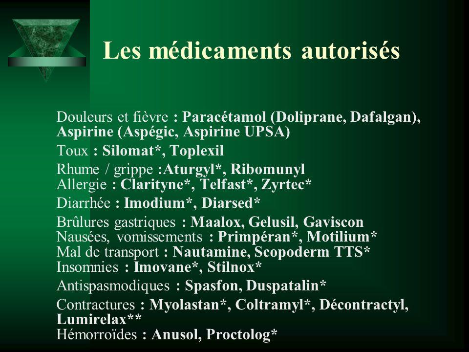 Les médicaments autorisés Douleurs et fièvre : Paracétamol (Doliprane, Dafalgan), Aspirine (Aspégic, Aspirine UPSA) Toux : Silomat*, Toplexil Rhume /