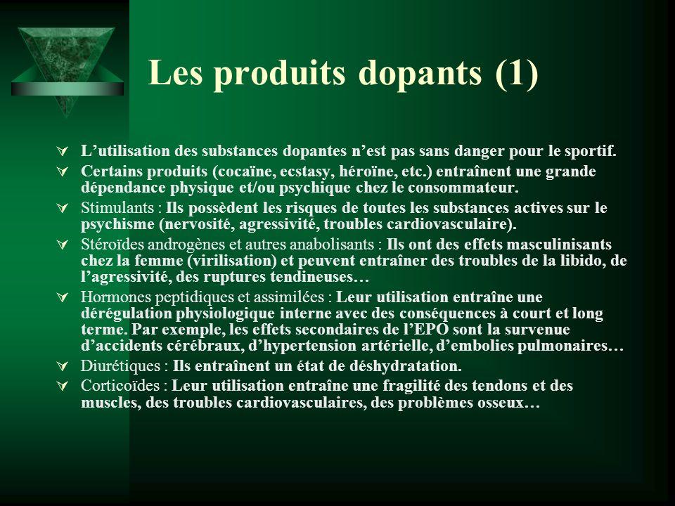 Les produits dopants (1) Lutilisation des substances dopantes nest pas sans danger pour le sportif. Certains produits (cocaïne, ecstasy, héroïne, etc.