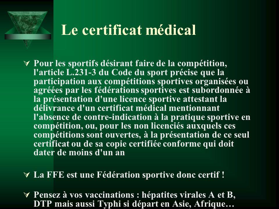 Le certificat médical Pour les sportifs désirant faire de la compétition, l'article L.231-3 du Code du sport précise que la participation aux compétit