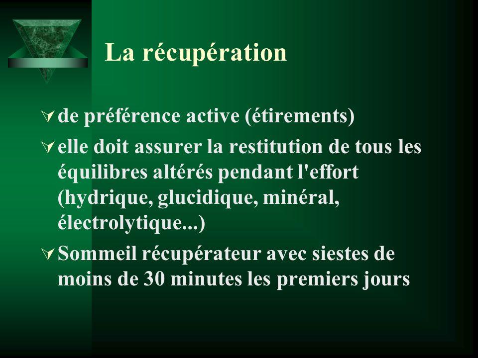 La récupération de préférence active (étirements) elle doit assurer la restitution de tous les équilibres altérés pendant l'effort (hydrique, glucidiq