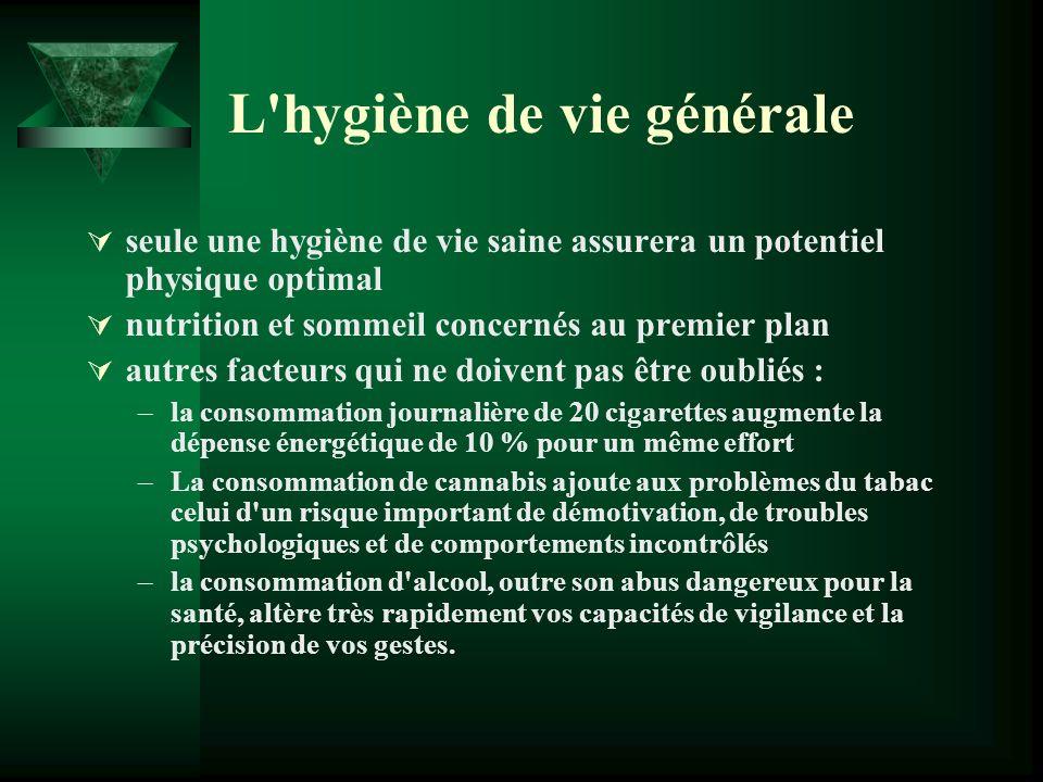 L'hygiène de vie générale seule une hygiène de vie saine assurera un potentiel physique optimal nutrition et sommeil concernés au premier plan autres
