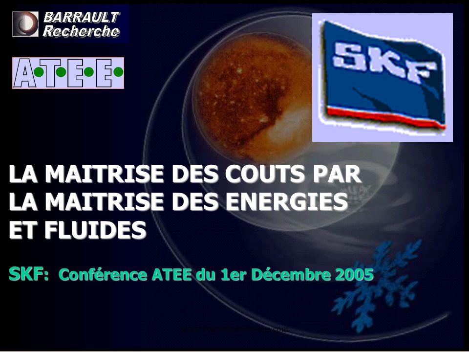 www.barrault-recherche.com LA MAITRISE DES COUTS PAR LA MAITRISE DES ENERGIES ET FLUIDES SKF : Conférence ATEE du 1er Décembre 2005
