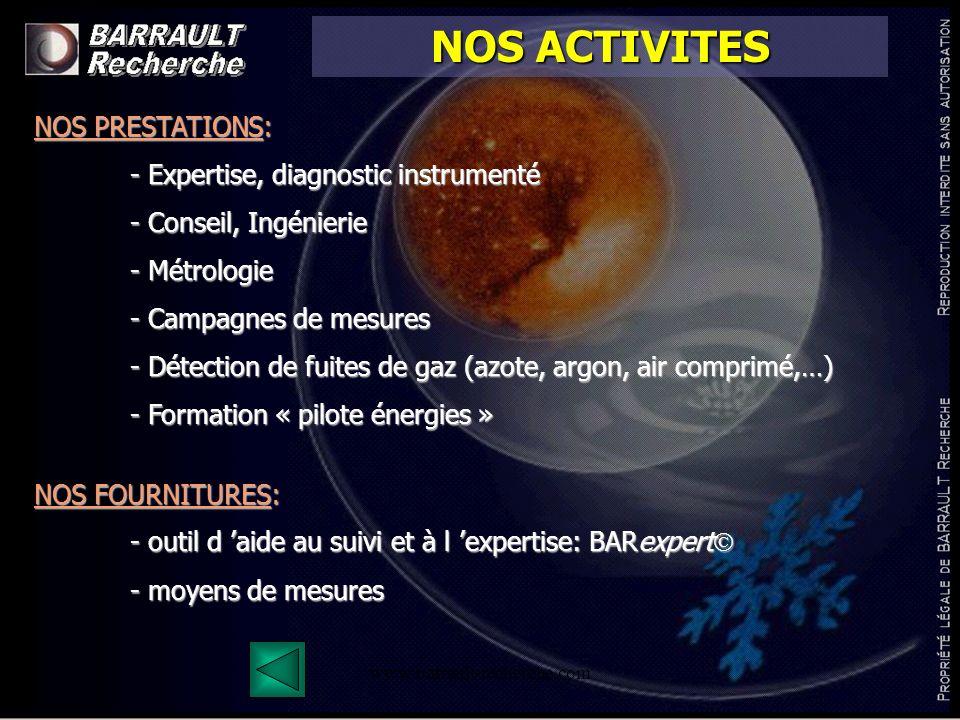 www.barrault-recherche.com NOS ACTIVITES NOS PRESTATIONS: - Expertise, diagnostic instrumenté - Conseil, Ingénierie - Métrologie - Campagnes de mesure