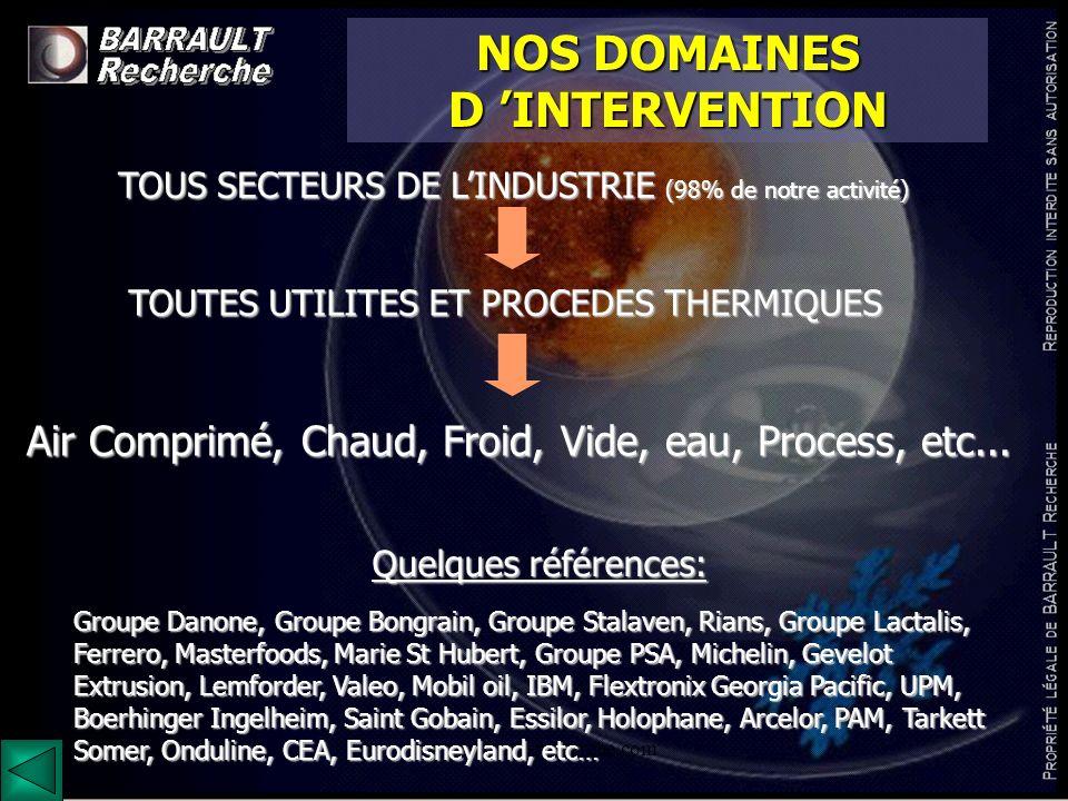 www.barrault-recherche.com NOS DOMAINES D INTERVENTION TOUS SECTEURS DE LINDUSTRIE (98% de notre activité) Air Comprimé, Chaud, Froid, Vide, eau, Proc