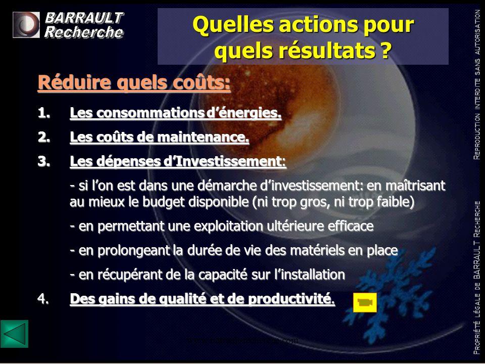 www.barrault-recherche.com Quelles actions pour quels résultats ? Réduire quels coûts: 1.Les consommations dénergies. 2.Les coûts de maintenance. 3.Le