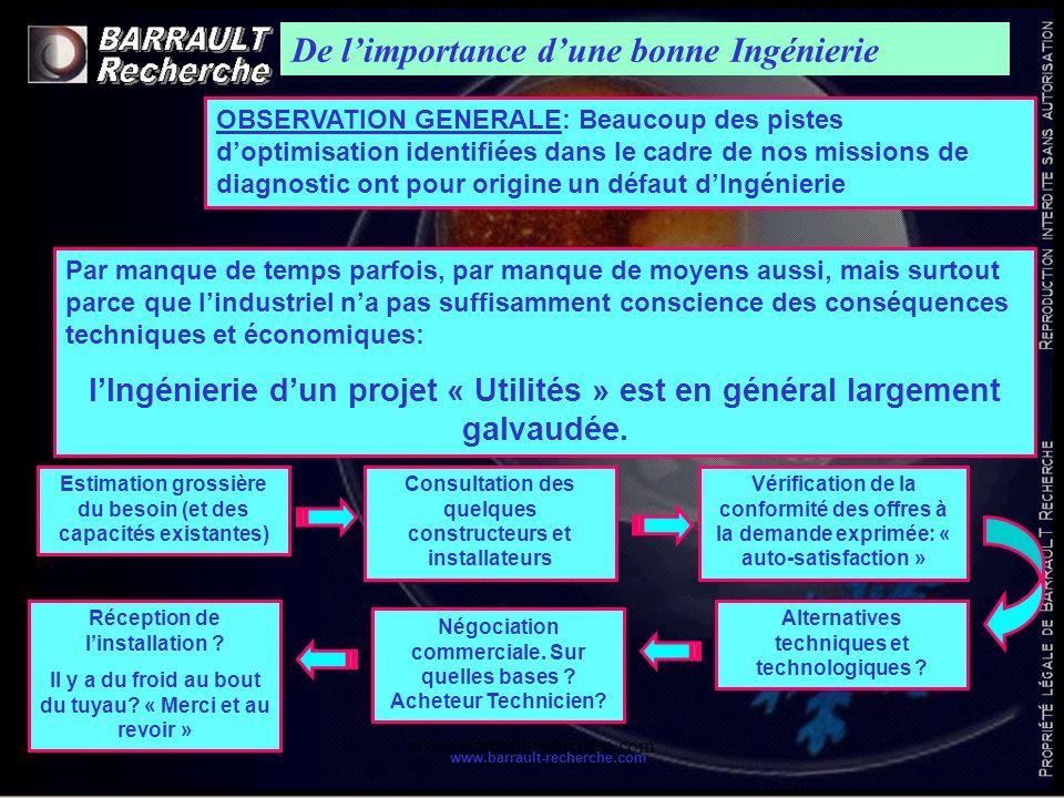 www.barrault-recherche.com De limportance dune bonne Ingénierie OBSERVATION GENERALE: Beaucoup des pistes doptimisation identifiées dans le cadre de n